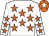 White, orange stars, orange cap, white star