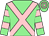 Light green, pink cross belts, hooped sleeves and cap