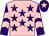 Pink, purple stars, purple and pink chevrons on sleeves, purple cap, pink star