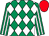 Emerald green and white diamonds, striped sleeves, red cap