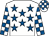 White, royal blue stars, check sleeves & cap